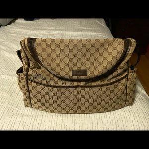 Gucci canvas diaper bag